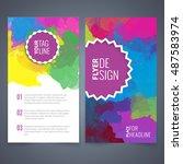 abstract vector brochure... | Shutterstock .eps vector #487583974