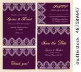 set of wedding cards with... | Shutterstock .eps vector #487589647
