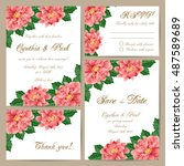 set of wedding cards with... | Shutterstock .eps vector #487589689