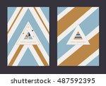 modern minimal merry christmas... | Shutterstock .eps vector #487592395