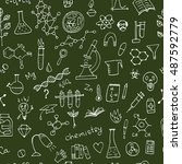 chemistry background  seamless... | Shutterstock .eps vector #487592779