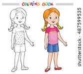 coloring book or page. outline... | Shutterstock .eps vector #487599535