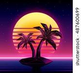 retro futuristic background... | Shutterstock .eps vector #487600699