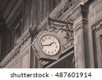 sepia photography of old street ... | Shutterstock . vector #487601914