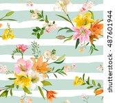 vintage spring flowers... | Shutterstock .eps vector #487601944