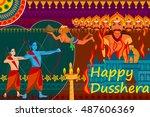 vector illustration of happy... | Shutterstock .eps vector #487606369