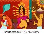 vector illustration of happy...   Shutterstock .eps vector #487606399