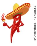 hot chili pepper with fire | Shutterstock .eps vector #48760663