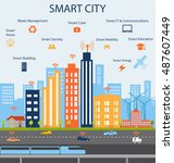 smart city and internet of... | Shutterstock .eps vector #487607449