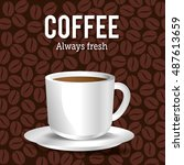 cup coffee with beans graphic | Shutterstock .eps vector #487613659