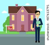 real estate realtor on the... | Shutterstock . vector #487613791