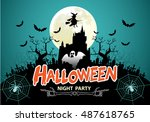 halloween night party green... | Shutterstock .eps vector #487618765