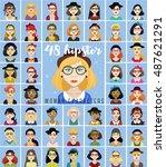 vector set of 48 avatar... | Shutterstock .eps vector #487621291