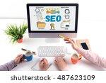 technology communication... | Shutterstock . vector #487623109