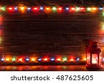 christmas lights and vintage... | Shutterstock . vector #487625605