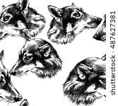 seamless pattern with wolf... | Shutterstock . vector #487627381