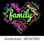 family relations word cloud | Shutterstock .eps vector #487627405