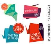 modern flat sale badges set   Shutterstock .eps vector #487631125