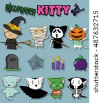 cute kittens halloween costumes ... | Shutterstock .eps vector #487632715
