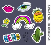 fashion patch badges with lips  ... | Shutterstock .eps vector #487639699