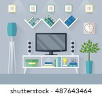 design tv zone in a flat style. ... | Shutterstock .eps vector #487643464
