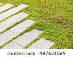 stone walkway on green grass in ... | Shutterstock . vector #487651069