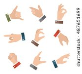 collection open empty hands... | Shutterstock . vector #487651699