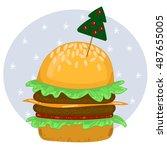 happy new year hamburger | Shutterstock .eps vector #487655005