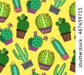 cactus plant background... | Shutterstock .eps vector #487659715