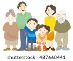 family  parents  children and... | Shutterstock .eps vector #487660441