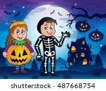 halloween costumes theme image... | Shutterstock .eps vector #487668754