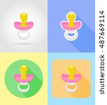 baby toys and accessories flat...   Shutterstock . vector #487669114
