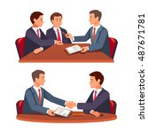 businessman shaking hands over... | Shutterstock .eps vector #487671781