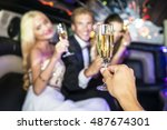party people toasting with... | Shutterstock . vector #487674301