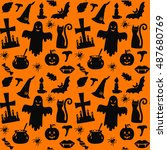 halloween silhouettes seamless... | Shutterstock .eps vector #487680769