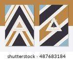 minimal modern christmas cards...   Shutterstock .eps vector #487683184