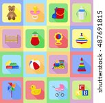 baby toys and accessories flat...   Shutterstock . vector #487691815