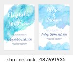 vector watercolor background ... | Shutterstock .eps vector #487691935
