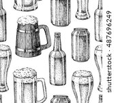 beer vector seamless pattern.... | Shutterstock .eps vector #487696249