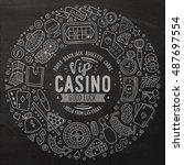 chalkboard vector hand drawn... | Shutterstock .eps vector #487697554