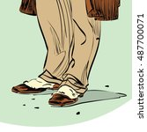 old fashion hipster man shoes ... | Shutterstock .eps vector #487700071