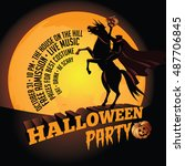 headless horseman halloween... | Shutterstock .eps vector #487706845