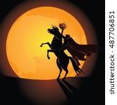 headless horseman background.... | Shutterstock .eps vector #487706851
