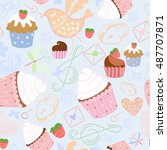 cakes and bird seamless pattern | Shutterstock .eps vector #487707871