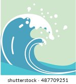 big wave vector illustration....   Shutterstock .eps vector #487709251