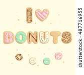 vector illustration with donuts | Shutterstock .eps vector #487716955