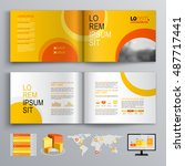 yellow business brochure... | Shutterstock .eps vector #487717441