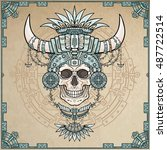 the shaman's mummy  human skull ... | Shutterstock .eps vector #487722514