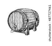 vector wooden barrel. hand... | Shutterstock .eps vector #487727461