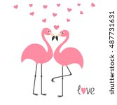pink flamingo couple and hearts.... | Shutterstock . vector #487731631